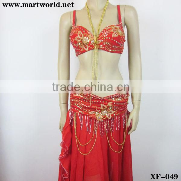 high quality red bra and panty with beads and rhinestone(XF-049)