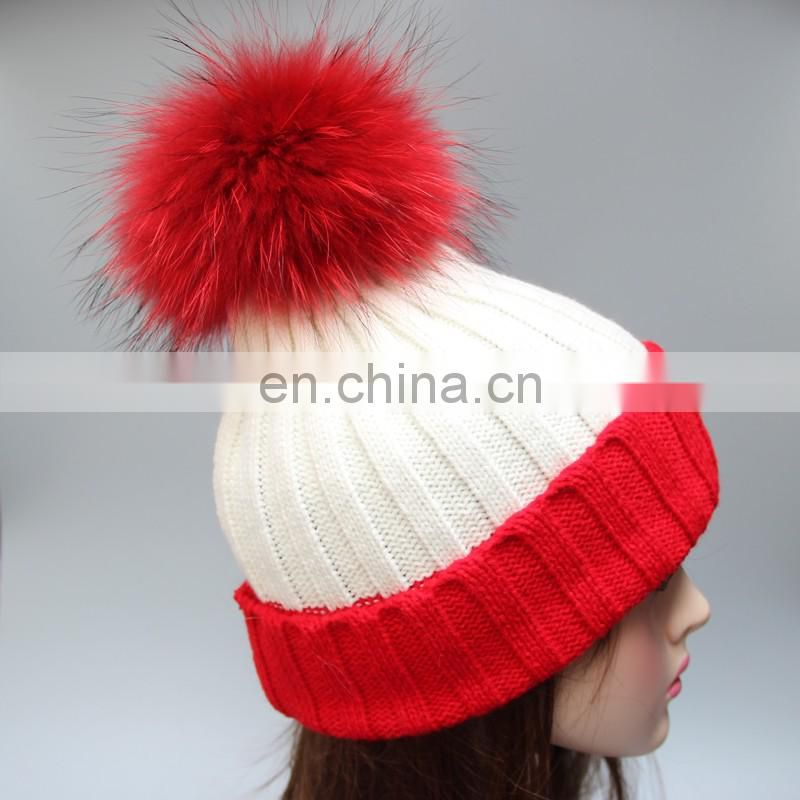 Double color girl matching color fur pompom ribbed beanies for women