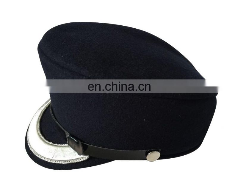 customized wool material of 2.2cm silver bullion embrodiery visor military hat