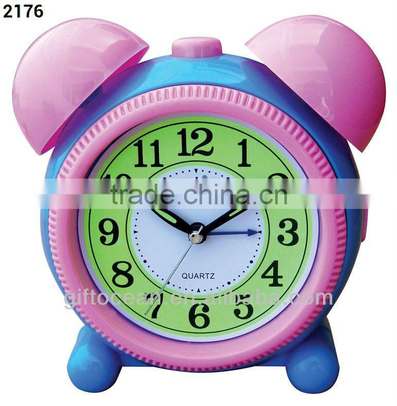 plastic square shape alarm clock, analog melody music desktop clock, electron bell table alarm clock