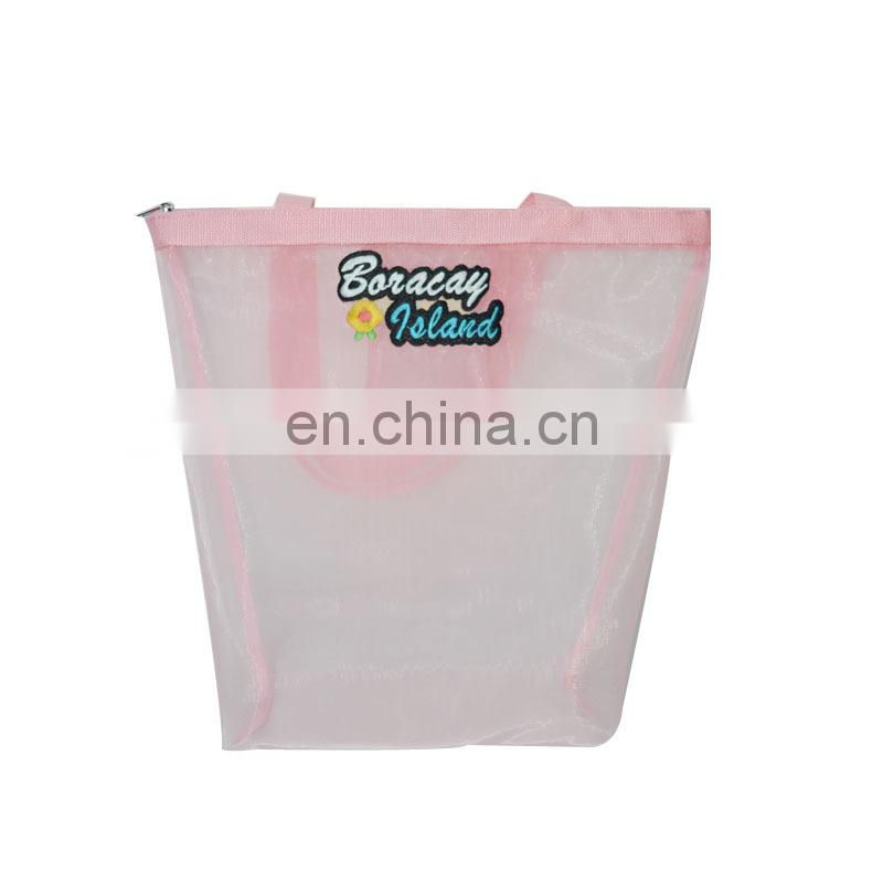 manufacture nylon mesh embroidered logo shopping bag