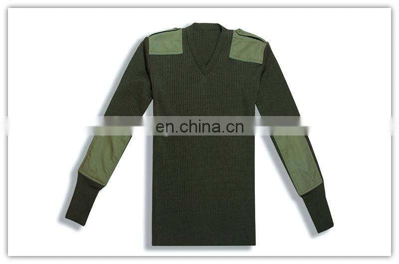 olive green acrylic police sweater