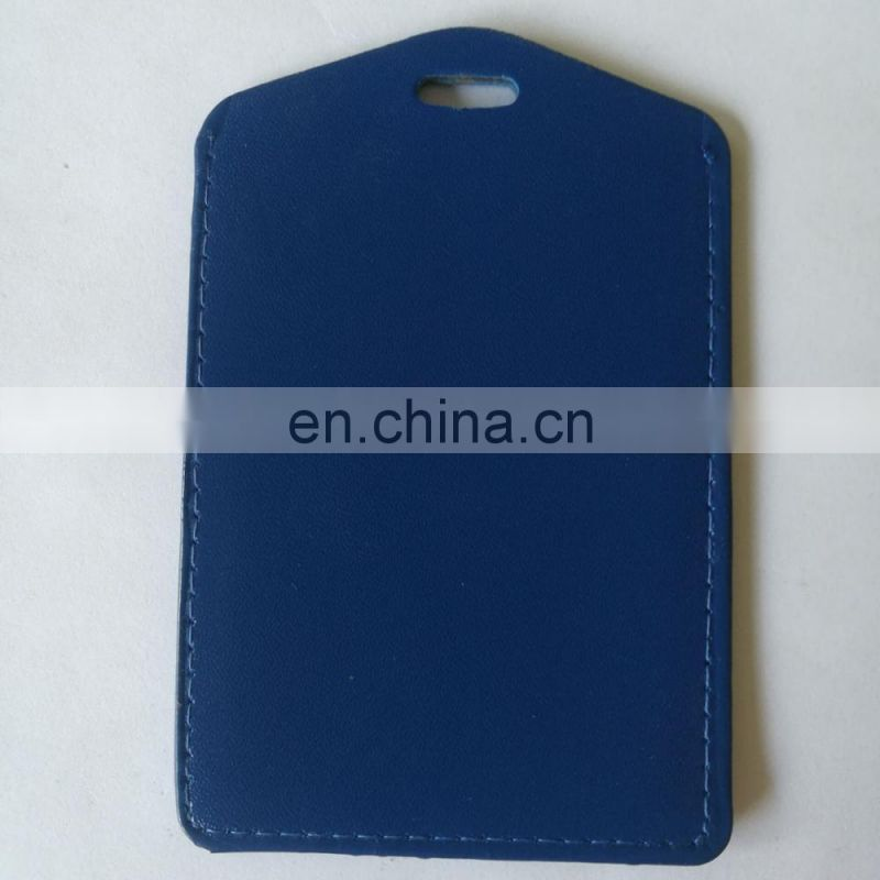 Blue color PU leather ID card holder vetical shape