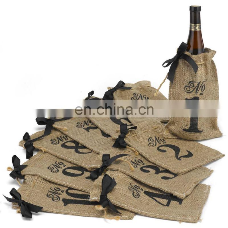 Table Numbers 1-10 Burlap Hessian Wedding Wine Bottle Bags