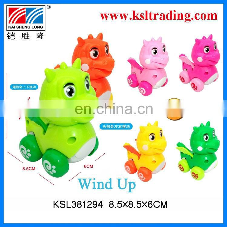 12PCS kids cartoon mini wind up dinosaur animal