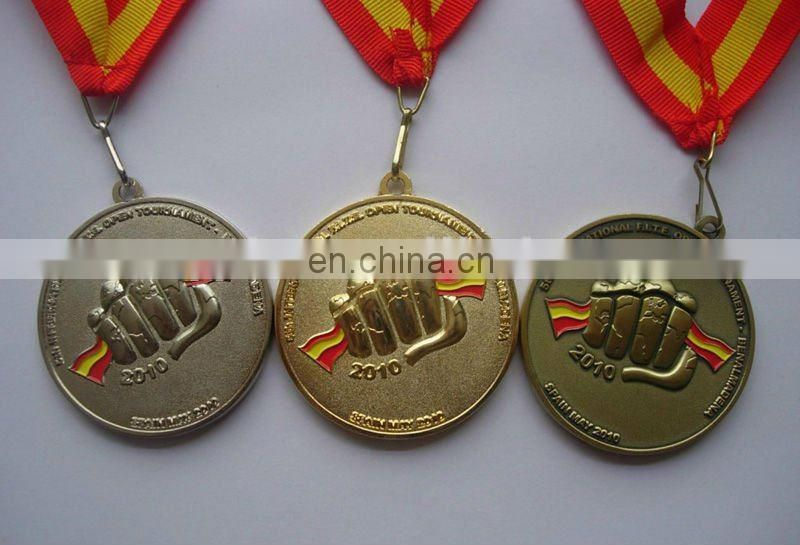 custom design star shape gold ribbon medal badge