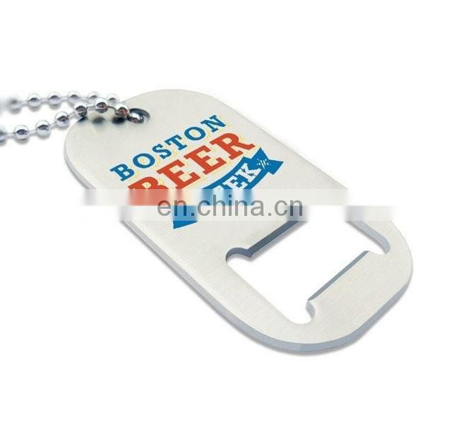 Custom metal dog tag bottle opener necklace