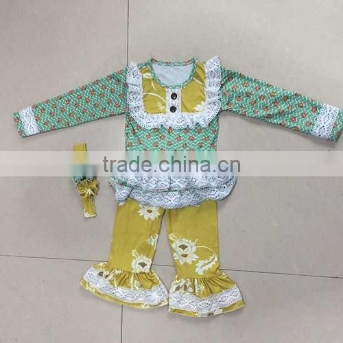 2016 hot sale Christmas deer dress top yellow girls ruffle pant set 95% cotton material best quality baby clothes