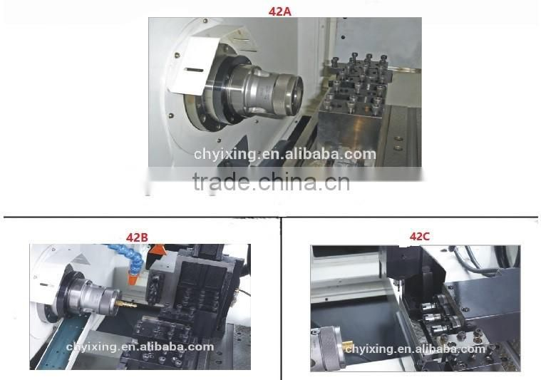 China Shanghai supplier big dia bore 42mm max dia 100mm BX42 Most popular 4 aixs Turning & Milling Center CNC Lathe
