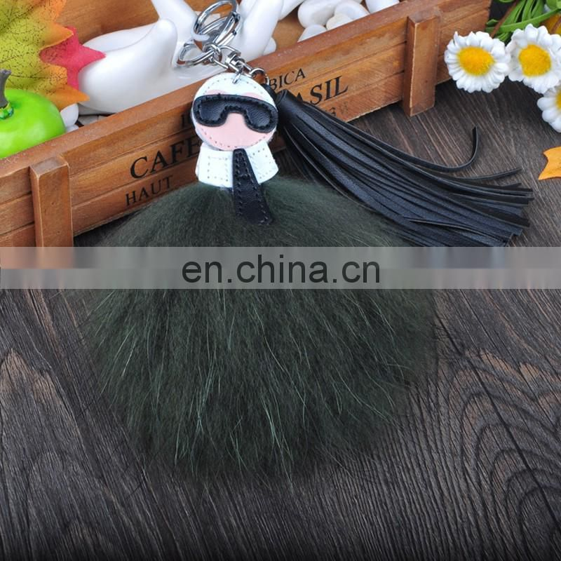 Top grade wholesale raccoon fur charm for ladies bag fashion