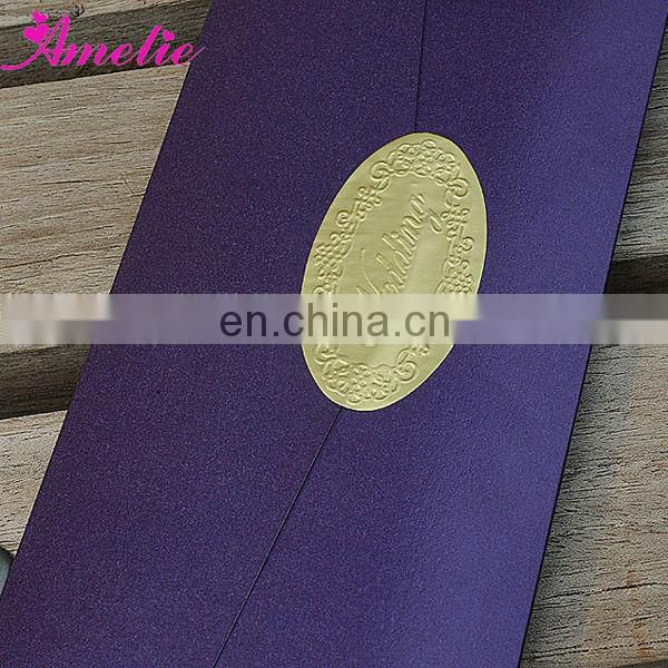 AC137 With Ribbon Good Quality Paper Purple Wedding Cards