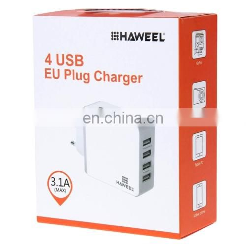 HAWEEL EU Plug 4 Ports USB Max 3.1A Travel Wall Charger for Android & Apple Mobile Phones