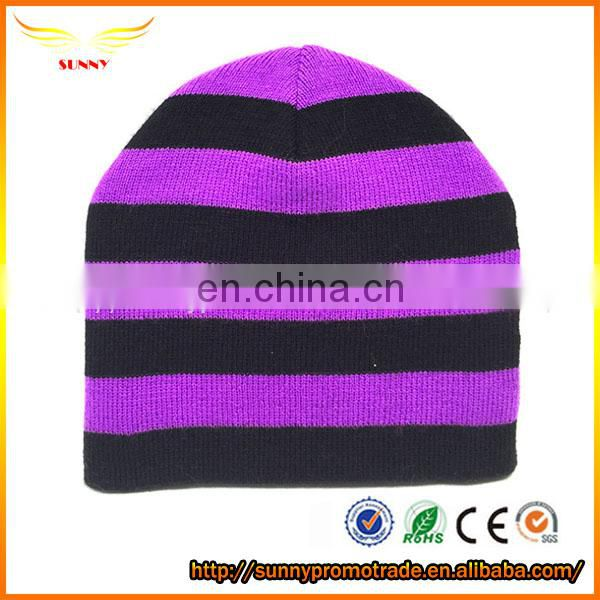 custom knit striped beanie hat,plain beanie