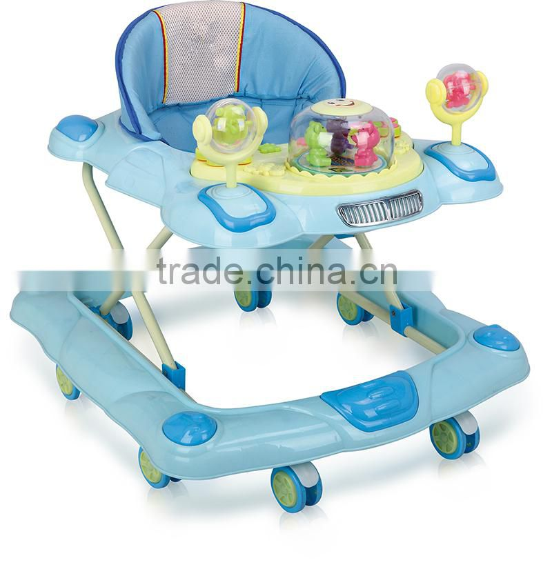 Round Plasitc Toy Baby Walker With Push Bar and rocking LW18-731P