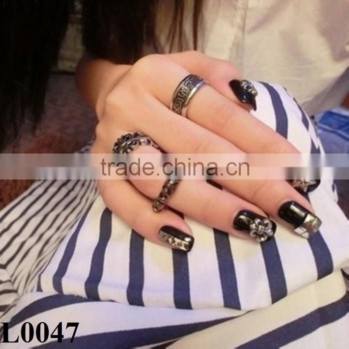 Silver Jewelry 3d nail sticker Style Salon Nail Art Tips Alloy Charms Jewelry DIY Design Decorations L0047