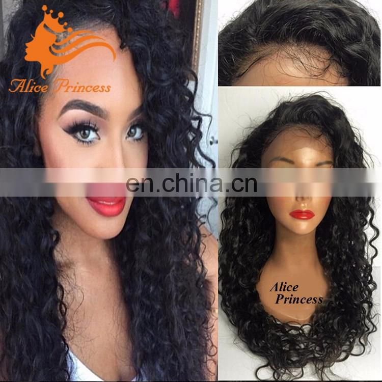 Elastic Band Brazilian Hair Glueless Full Lace Kinky Culy Wig With