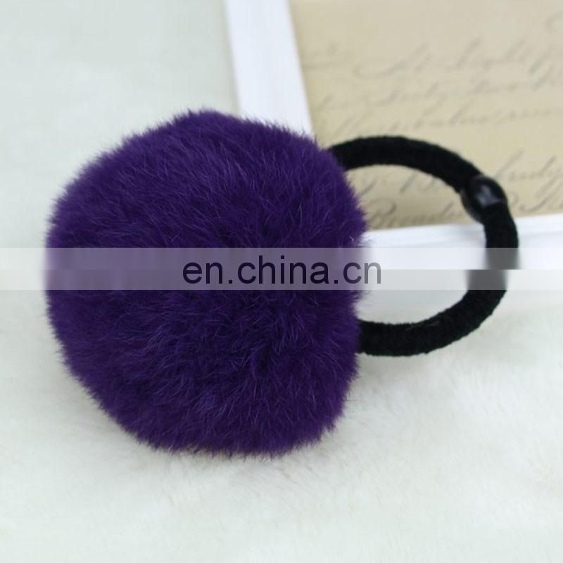 Top grade girl rabbit fur pompom hairband elastic wholesale promotional
