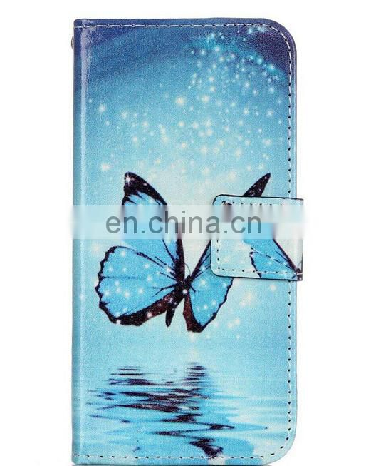 Simple Multi images China style stand butterfly wallet pu case for iphone7 plus