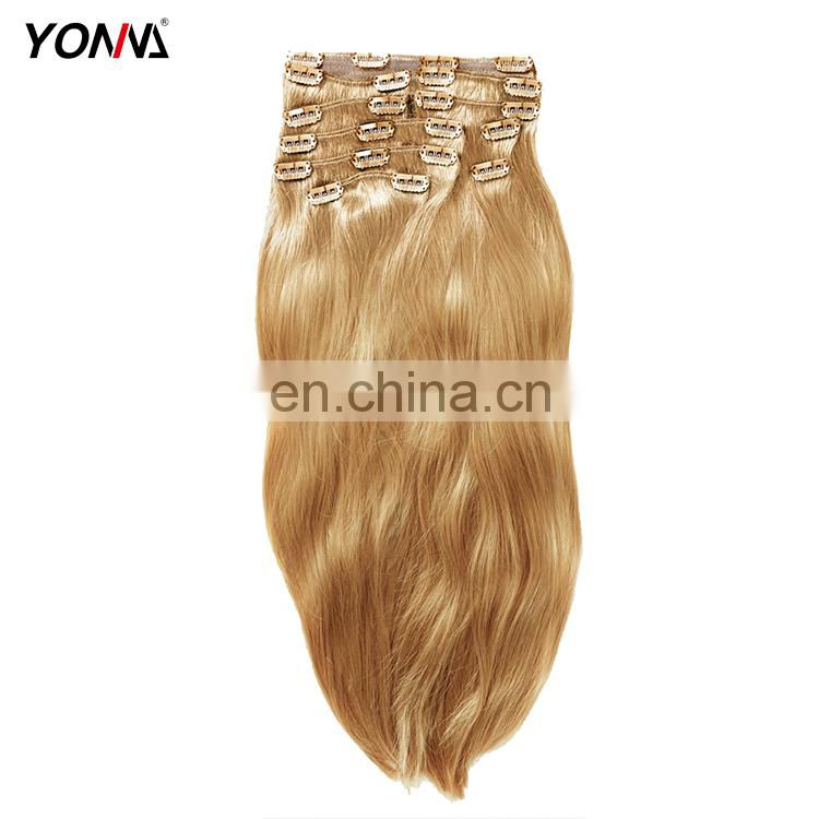 Full Head Double Drawn 100% Brazilian Hair Clip In Human Hair Extensions Color 613 Blonde For Black Women