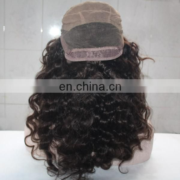 Factory human hair wig top quality #2 color deep wave brazilian hair full lace wig with clips and Adjusting belt