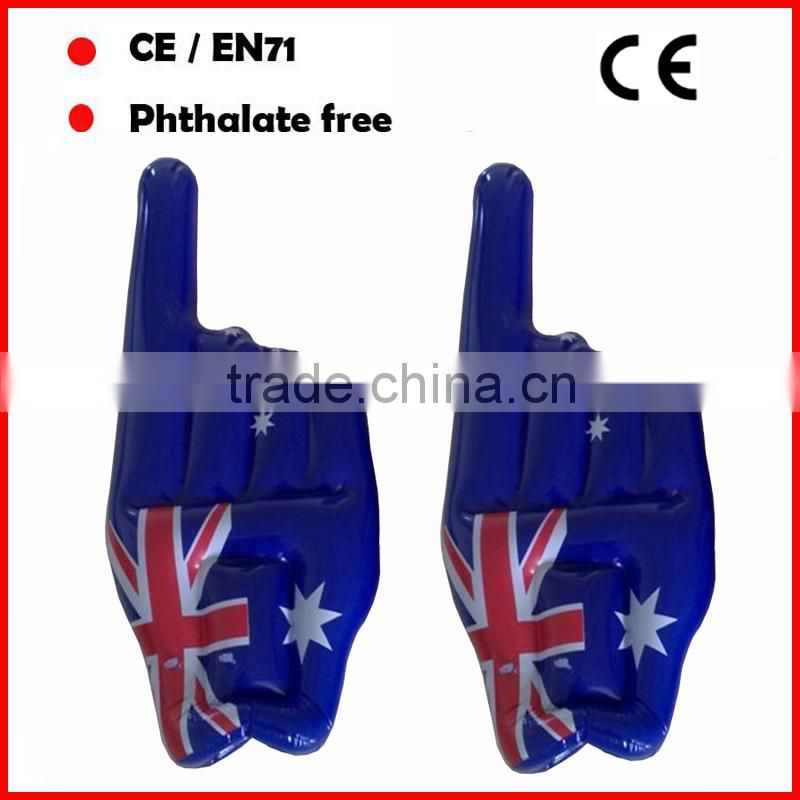 Red color PVC inflatale hands for cheering in football match