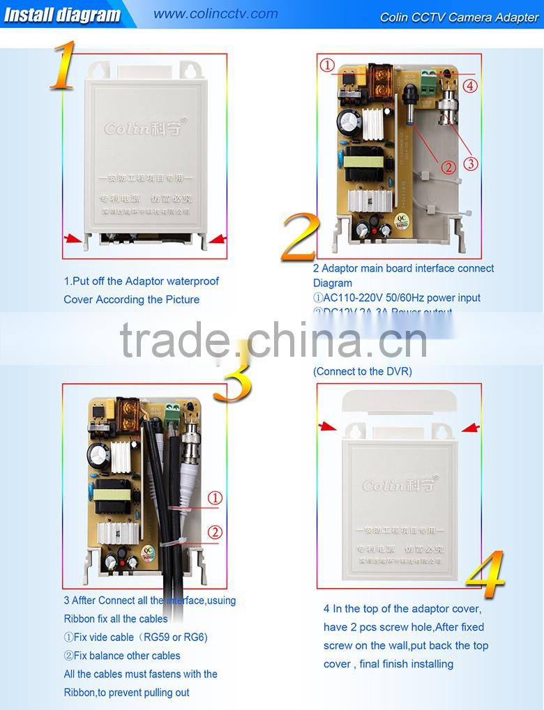 Colin patent design waterproof white color 12v 2A DC power adaptor UL FCC certification power adapter