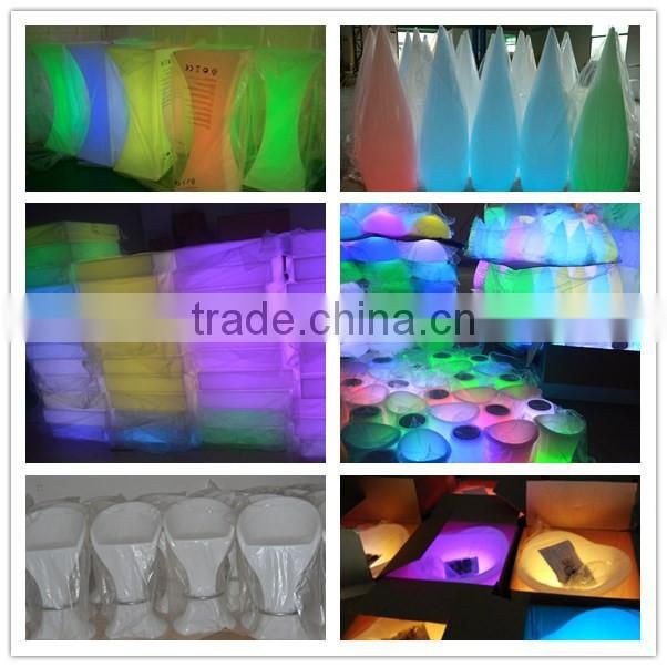 LED furniture hot sale remote control illuminated 16 color change clear plastic coffee tables with aluminum base