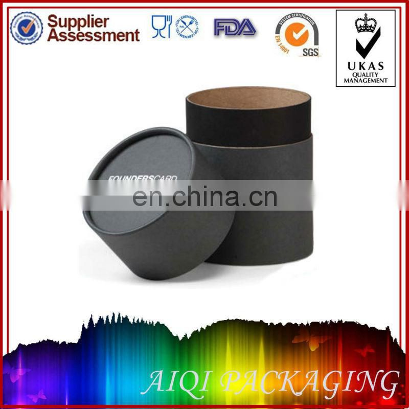 Custom Black Small Round Packaging Wax Cardboard Box with Lids