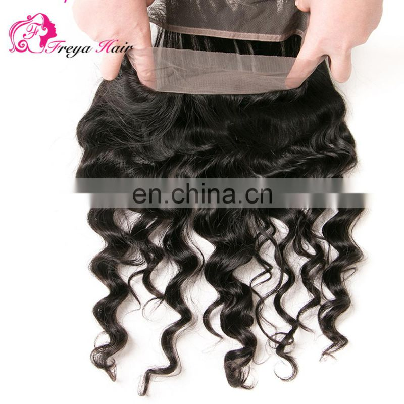 Wholesale Factory Price 100% brazilian hair loose wave 360 lace frontal closure