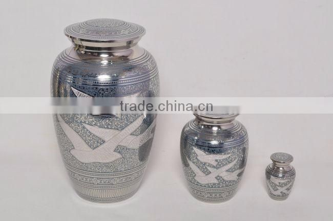 silver plated metal brass urns