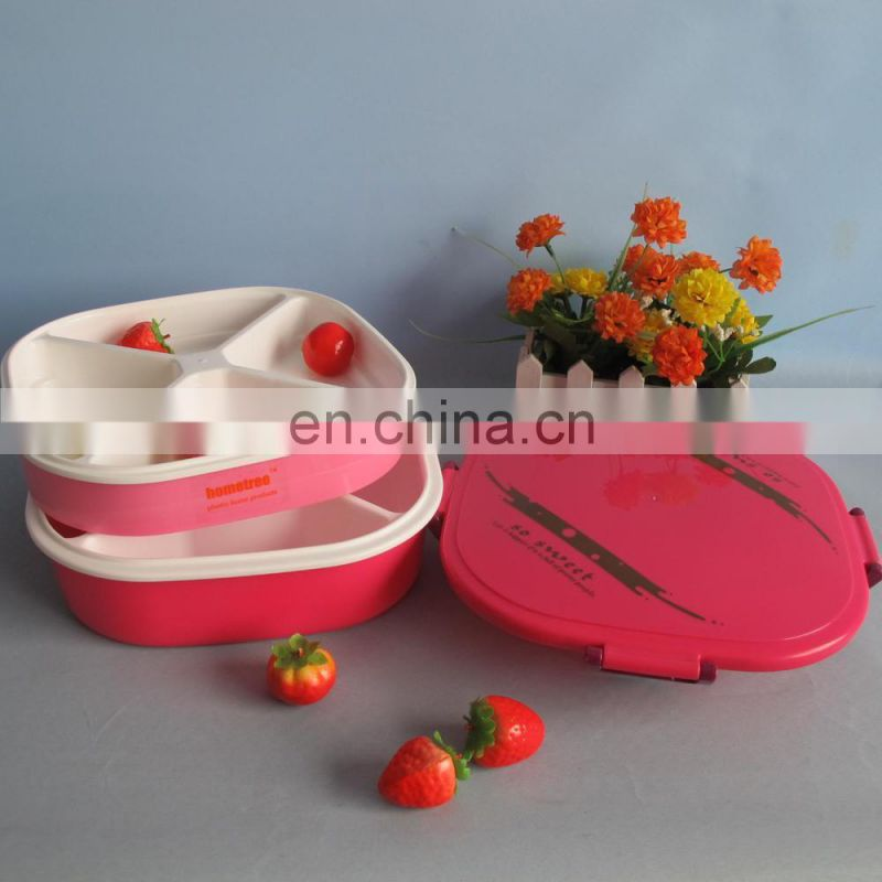 2 layer sealed plastic candy container with 4 dividers