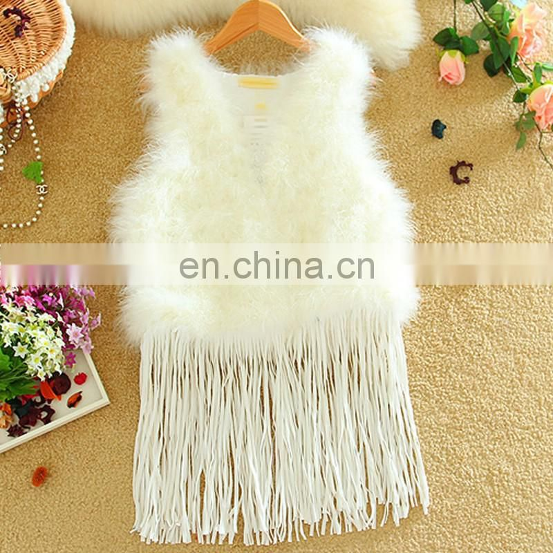 Real turkey feather hair fur vest/gilet winter fur waistcoat for ladies