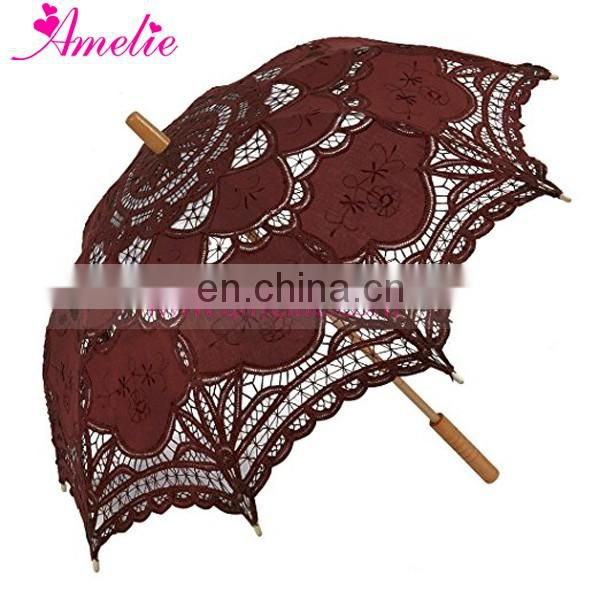 Romantic Wedding Coffee Color Battenburg Lace Umbrella Parasol Bridal Party Show Decoration Photo Props