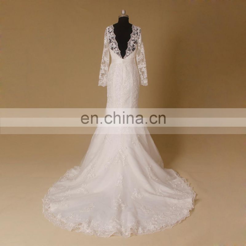 New style quality long sleeve wedding dress