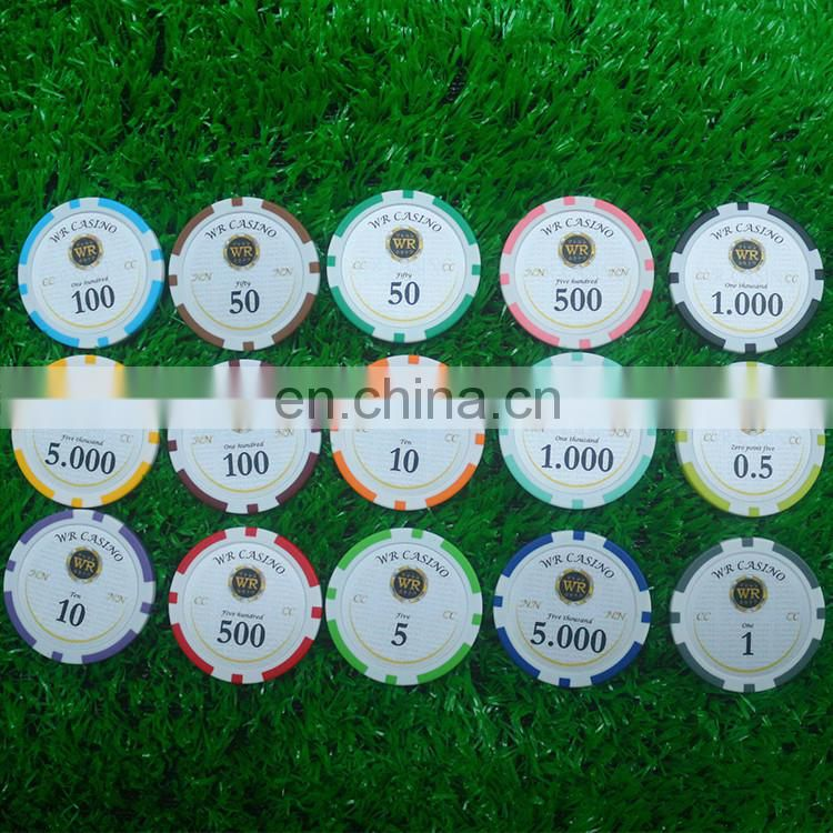 Good plastic printing sticker poker chip/ sticker clay chips for sale