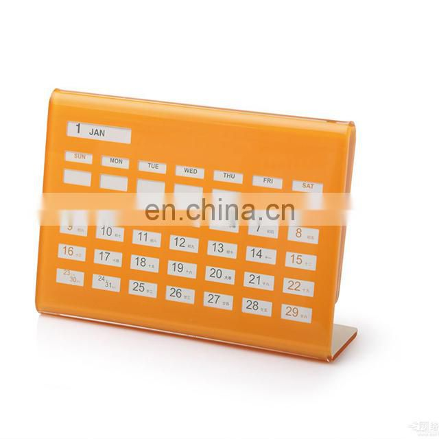 L shape elegance and good-looking eletronic type acrylic desk calendar