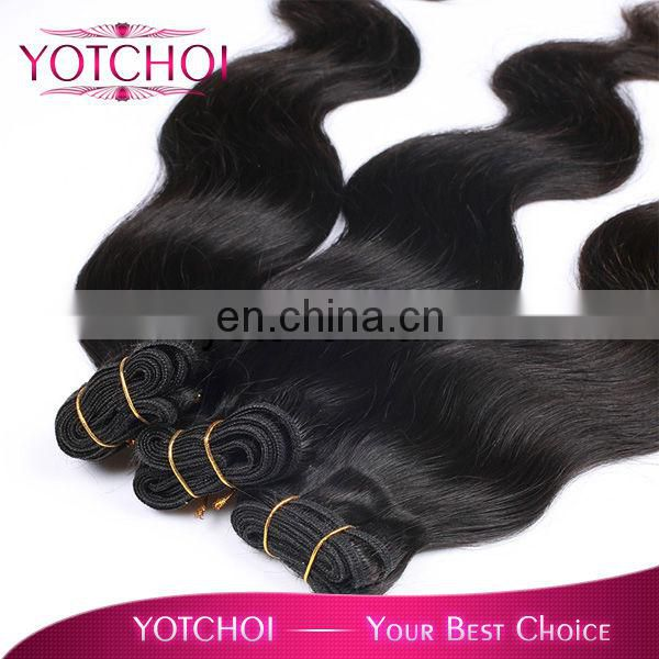 Hot selling double drawn weft body wave virgin malaysian wholesale human hair weave