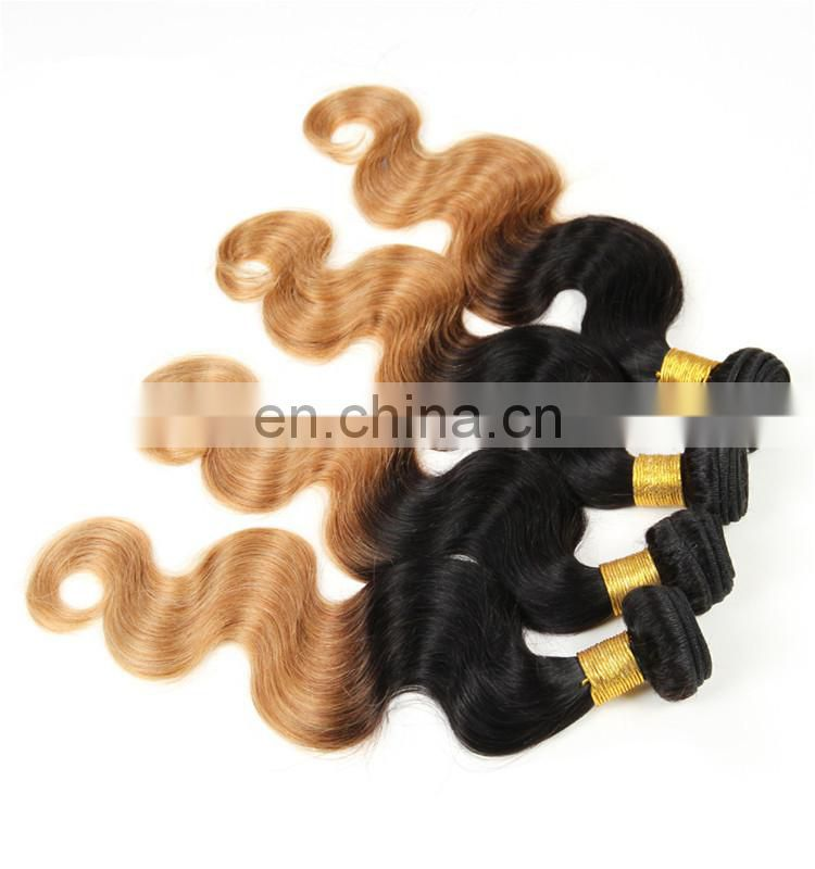 Two tone color T1b/27# body wave malaysian hair