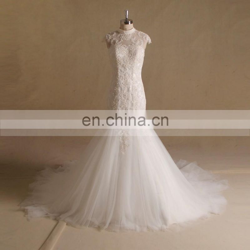 Graceful Mermaid Scoop Neck Cap Sleeve Bling Beads Lace Wedding Dress With Handmade Flowers