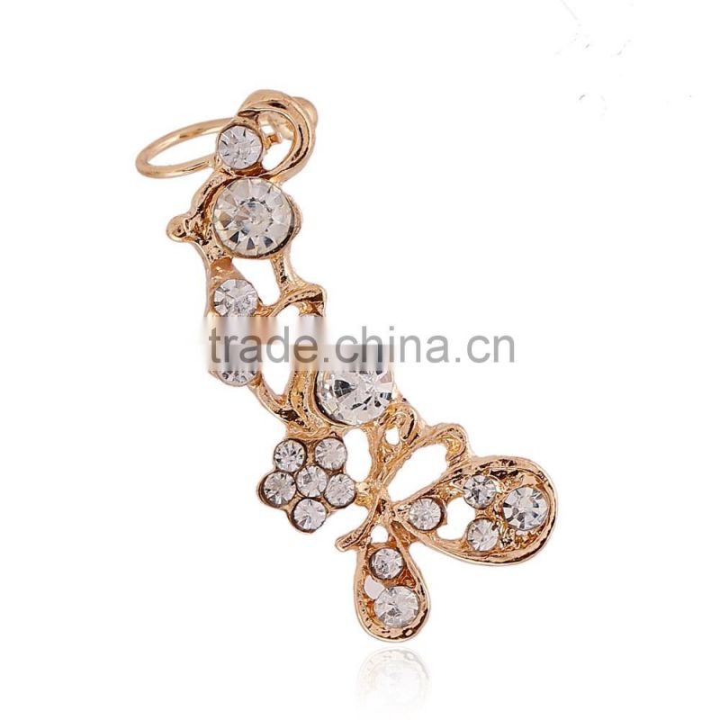 Diamond jewelry butterfly ear cuffs earrings for women
