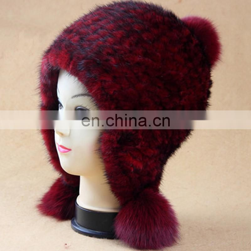 Wholesale hand made lady knitted mink fur fox fur pom pom hat for women
