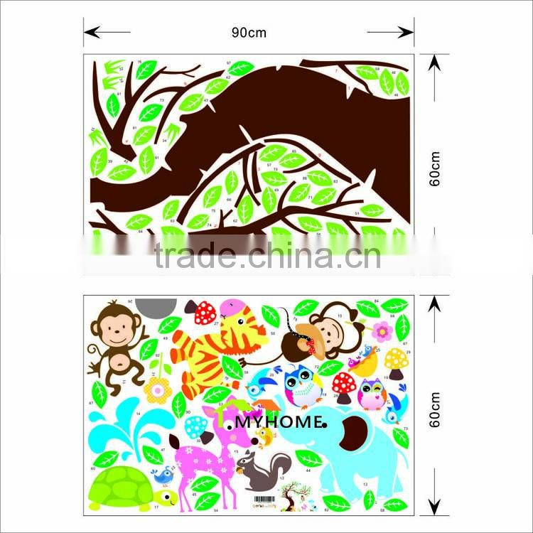 Oversize Cartoon Animal Monkey on Tree Wall Decal Baby Stickers for Kids Room Home Decor