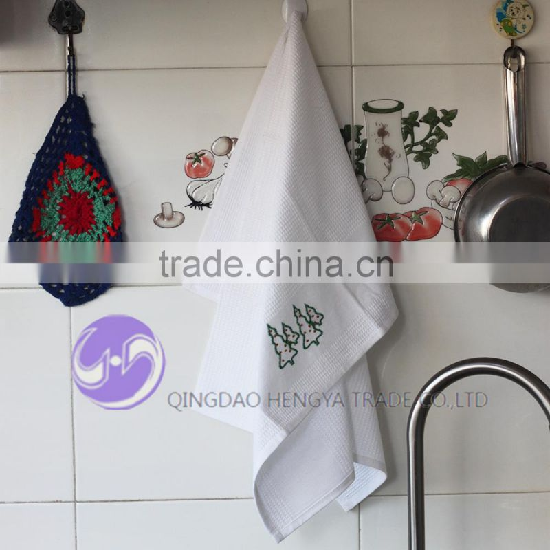 wholesale embroidery christmas design waffle plain white cotton tea towel