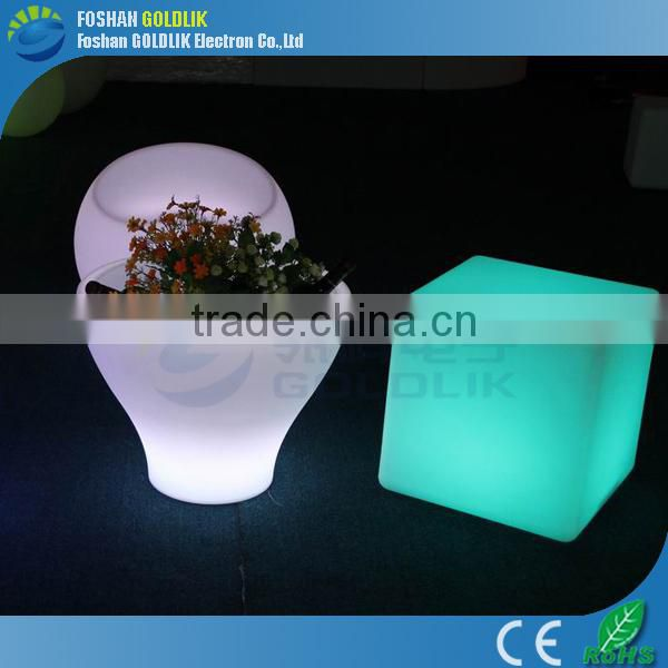 Colorful plastic led cube chairs with competive price GKC-040RT