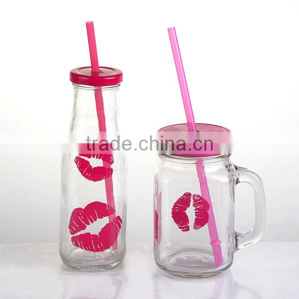 fancy bulk glass milk bottles with mouth decal