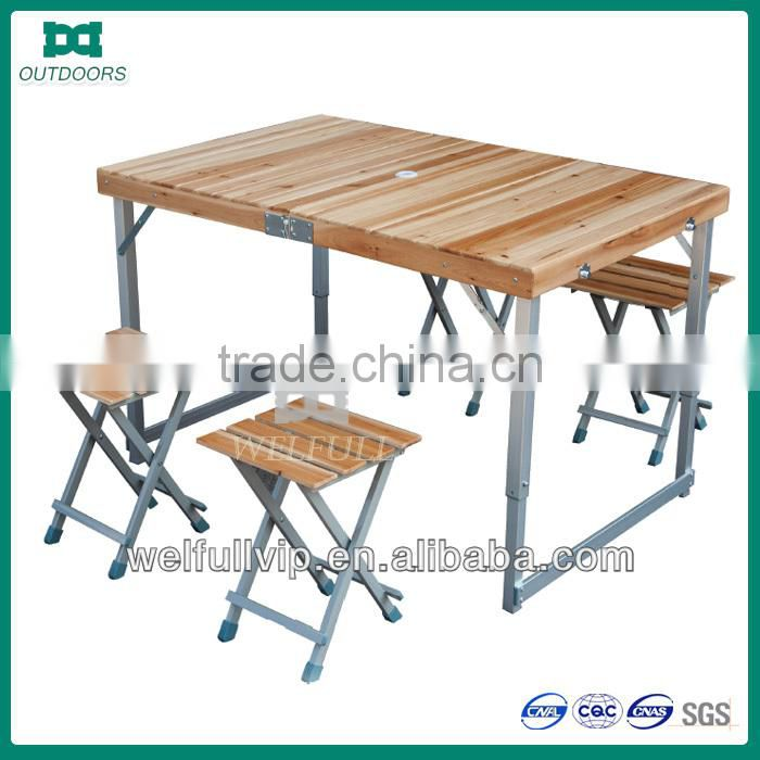 Foldable Camping Set Picnic Table And Chairs Outdoor Wooden