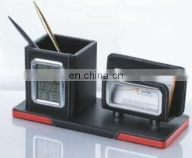Modern Leather Penholder with Calendar