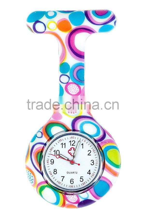 2016 Hot Nurses silicone Watches Geometric Flowers Silicon Nurse Doctor Paramedic Tunic Brooch custom Watch