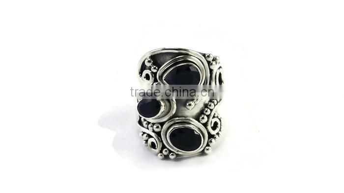 925 Sterling Silver bold handmade genuine dyed blue sapphire ring