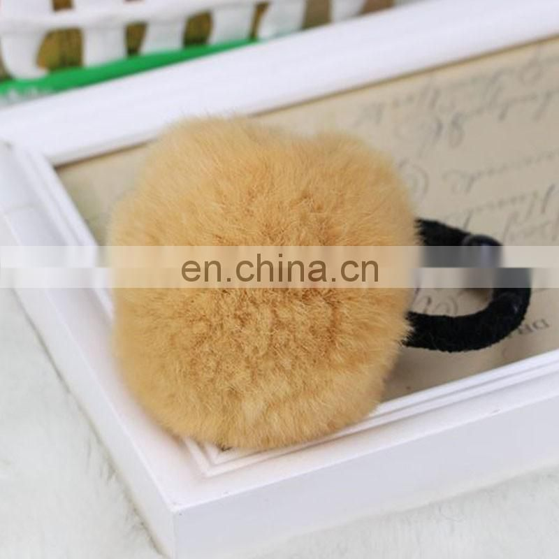 Lovely real rabbit fur ball hairband hand made wholesale fur pom pom elastic